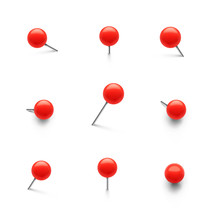 Set Of Push Pins In Different ...