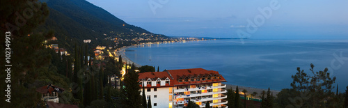 Photo Panoramic view of Gagra city - popular tourist resort on Black Sea