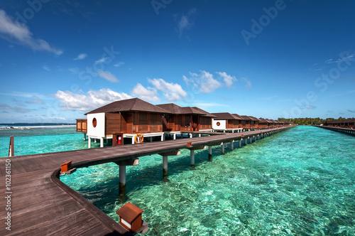 Luxury water villas of the Maldivian resort Wallpaper Mural