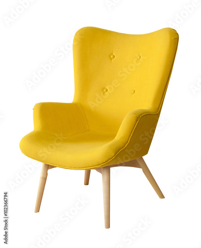Yellow modern chair isolated Canvas-taulu