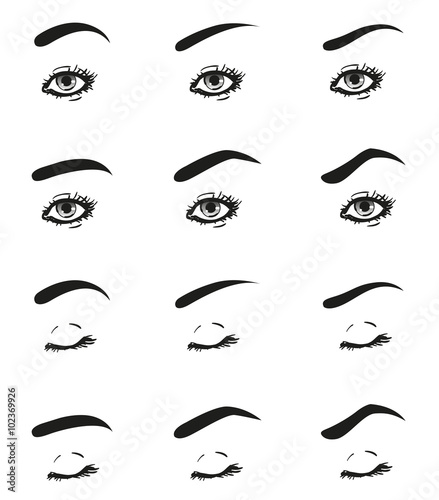 Icons set female eye with long eyelashes and different shape brow icons set female eye with long eyelashes and different shape brow line look straight ahead ccuart Gallery