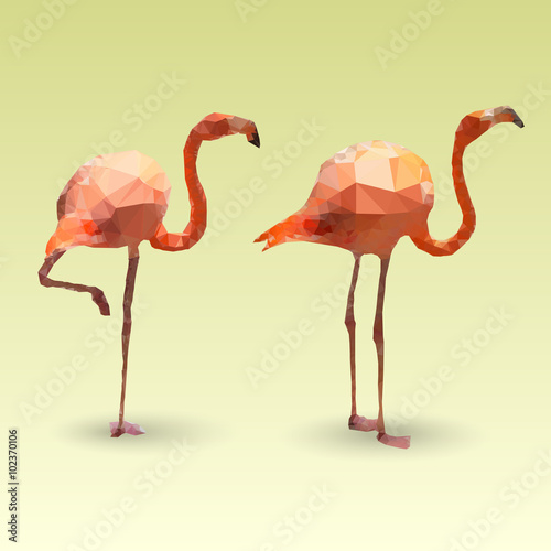 Flamingos made with triangles. Vector polygonal illustration фототапет