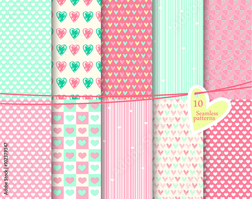 Heart Seamless Patterns Endless Texture Can Be Used For Wallpaper