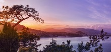 Panoramic View Over A Coastal Town At Sunset