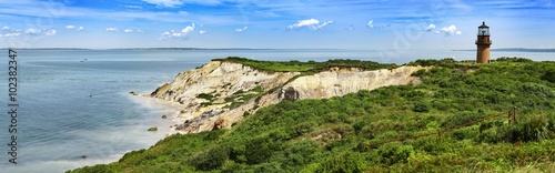 Fotografie, Obraz  Panorama of a Gay Head lighthouse on a cliff in Aquinnah, Marthas Vineyard