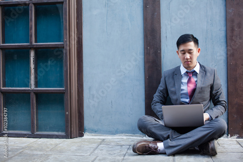 Fotografie, Obraz  Business Man Working Outdoor - Work Anywhere Concept