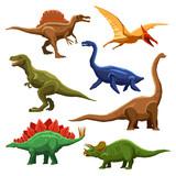Fototapeta Dinusie - Dinosaurs Color Icons Iet