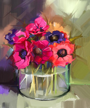 Still Life A Bouquet Of Flowers. Oil Painting Red Anemones Flower In Glass Vase. Hand Painted Floral In Impressionist Style