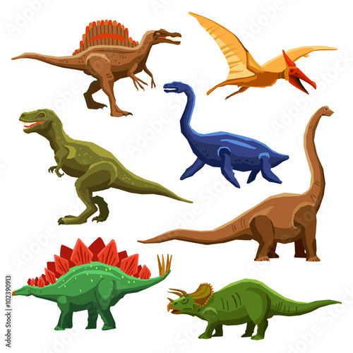 Dinosaurs Color Icons Iet Poster