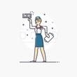 Vector outline business illustration of people profession stewar