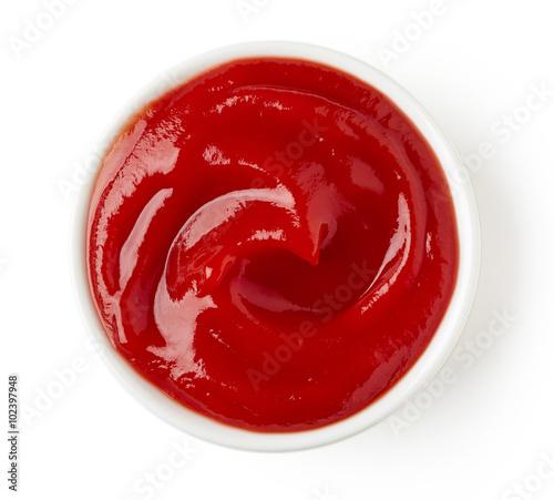 Fototapeta Ketchup or tomato sauce on white background obraz