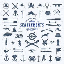 Vintage Vector Sea Or Nautical Icon Symbol Elements Set For Your Retro Labels, Badges And Logos. Huge Template With Shabby Texture.