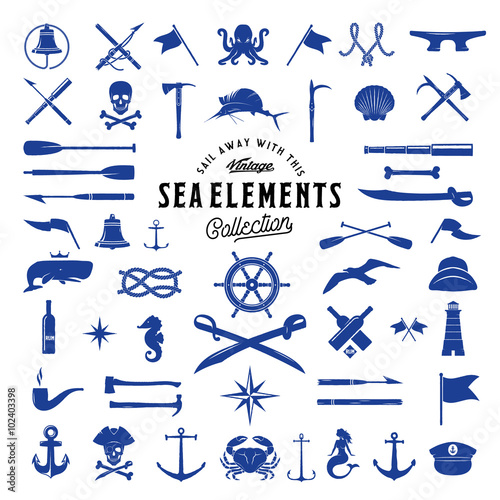 Fotografia  Vintage Vector Sea or Nautical Icon Elements Set for Your Retro Labels, Badges and Logos