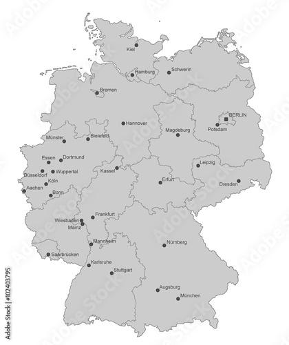 Karte von Deutschland - Städte (einzeln) Fototapet