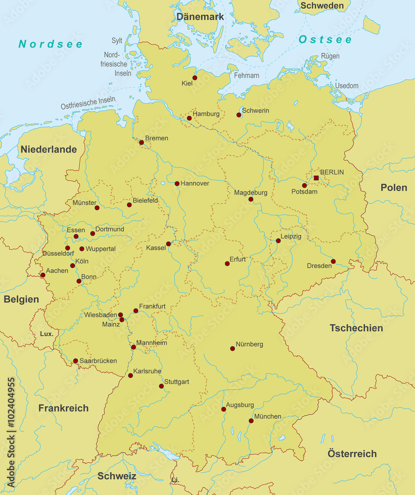 Gamesageddon Stock Karte Von Deutschland Stadte Detailliert