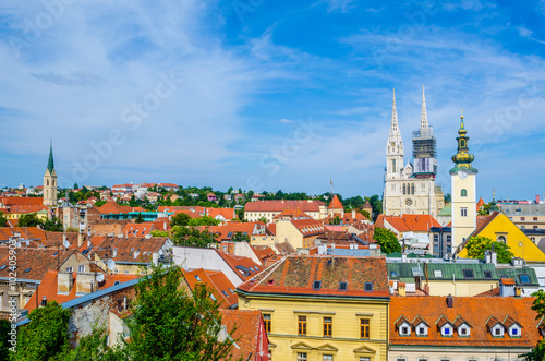 Foto op Canvas Milan Aerial view on a Zagreb Cathedral in the bright sunny day