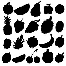 Fruits And Berries Set Black Silhouettes Isolated