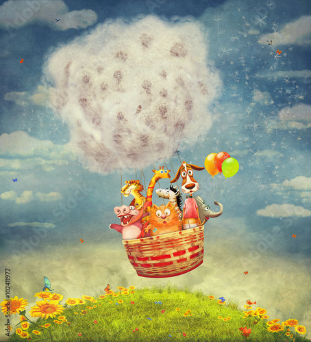 Happy animals in the   air balloon in the sky - illustration art - 102411977