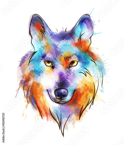 Głowa kolorowego wilka akwarela