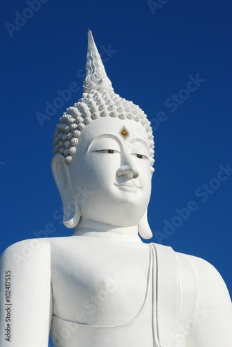 Recess Fitting Buddha Big white buddha statue on blue sky at Pasak Jolasid Dam, Thailand