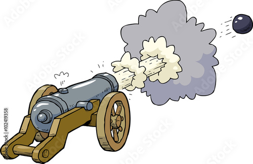 Cartoon artillery cannon Wallpaper Mural