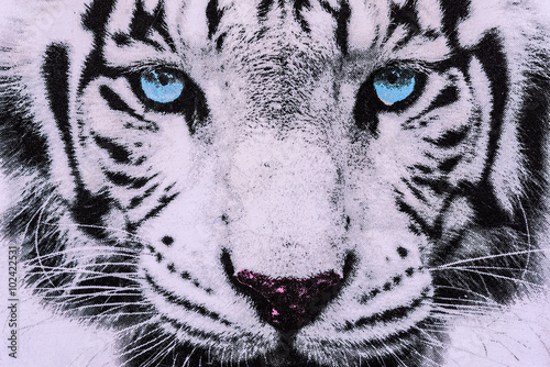 Tuinposter Panter texture of print fabric striped the white tiger face