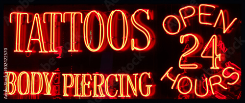 Photo A 24 Hour Tattoo Parlor Neon Sign
