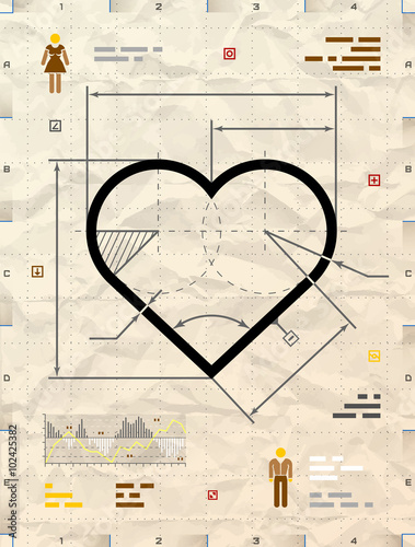 Heart sign as technical blueprint drawing drafting of heart symbol heart sign as technical blueprint drawing drafting of heart symbol on crumpled kraft paper malvernweather Choice Image