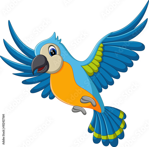 Photo Stands Draw illustration of Cartoon funny macaw flying