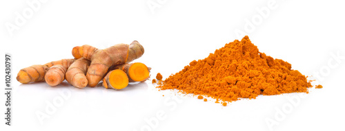 Cadres-photo bureau Condiment turmeric powder with turmeric root isolated on white