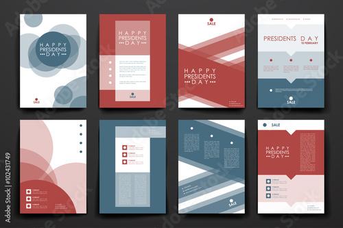 Set of brochure, poster design templates in Presidents Day style Fototapeta