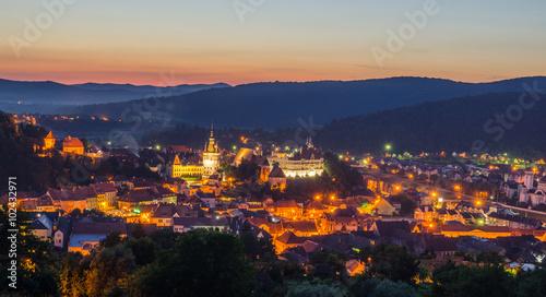 Fotografie, Obraz  aerial view of romanian city sighisoara during night