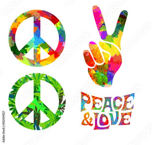 Cuadros en Lienzo retro hippie symbol