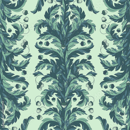 Fotografie, Obraz  Vector seamless pattern, victorian style vintage wallpaper or textile design with oak leaves and acorns
