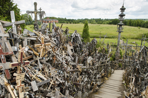 Valokuva  chaotic Hill of Crosses in Lithuania - tourist and religious attraction
