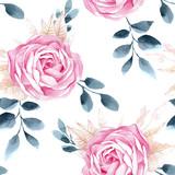Watercolor seamless roses pattern. - 102437100