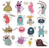 Fototapeta Dinusie - Cute monsters set