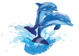 Fototapetajumping dolphins