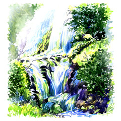 Panel Szklany Wodospad Deep forest beautiful waterfall, watercolor painting