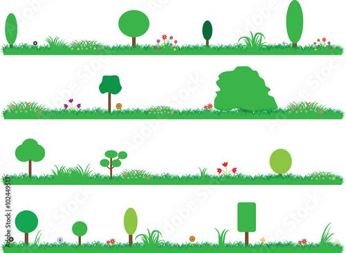 Garden Poster White Set of beautiful colored gardens illustrated on white