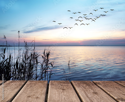 Fotobehang Zalm amanecer en el mar
