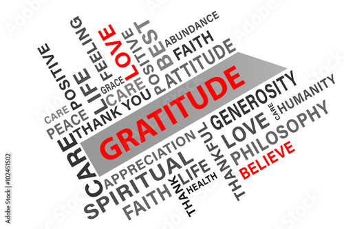 Gratitude word cloud concept vector illustration background
