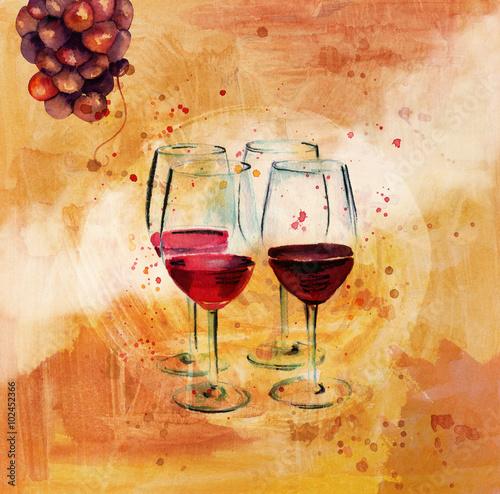 plakat-quot-degustacja-wina-quot-z-rysunkami-winogron-i-kieliszkow-do-wina