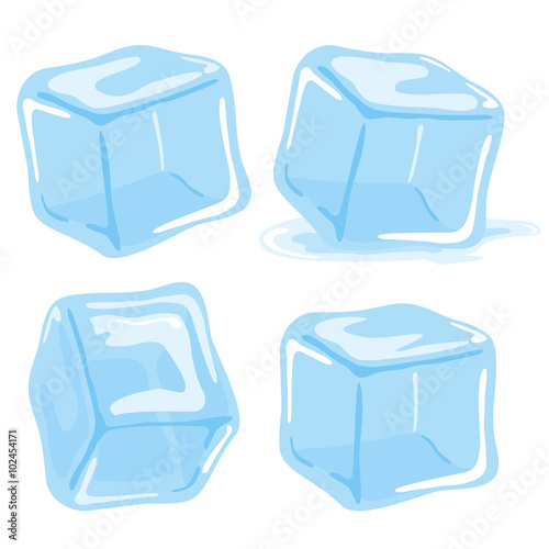 Photo Ice cubes and melted ice cube vector set on white background.