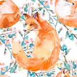 Wildlife pattern. Fox and flowering branches. . - 102456134