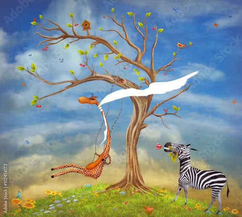 The illustration shows romantic relations between a giraffe and zebra - 102456173