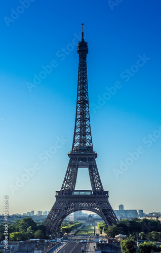 Acrylic Prints Red, black, white Eiffel tower in a cloudless morning in Paris