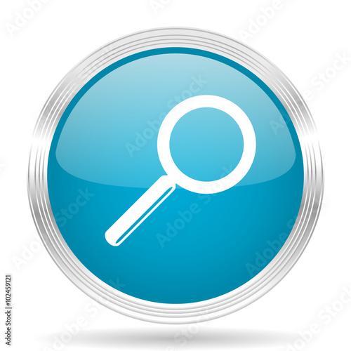 Fotografia  search blue glossy metallic circle modern web icon on white background