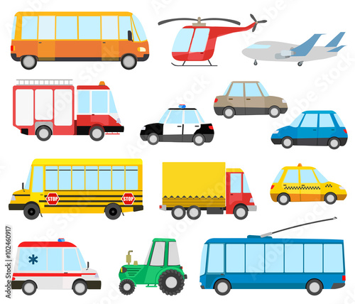 Keuken foto achterwand Cartoon cars set of cartoon transport