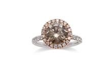 Gorgeous Chocolate Diamond Ring With White Diamond Halo In Rose Gold